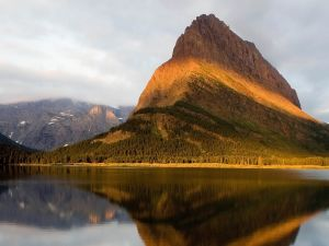 Mountain with a line of sunlight