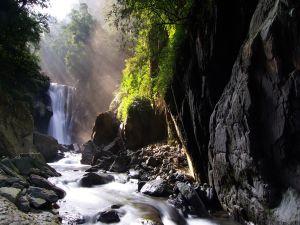 Sunlight on waterfall