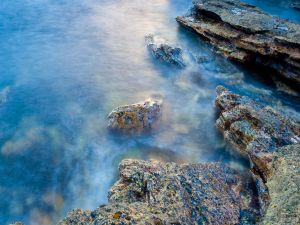 The rocks and water