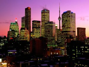 Night in the city of Toronto, Canada