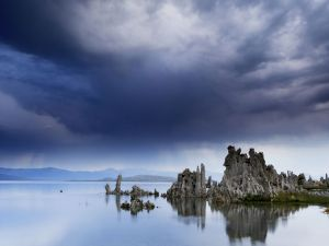 Dark clouds over lake