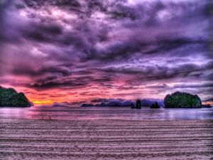 Sky and water purple colored