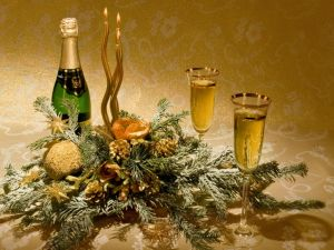 Flower Arrangement, champagne and glasses for New Year