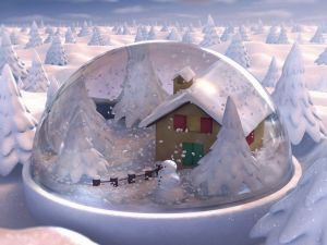Winter landscape in a crystal ball