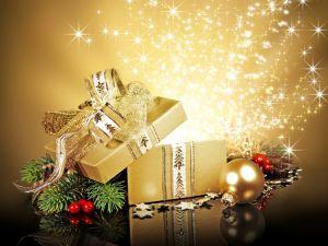 Golden gift box for Christmas