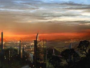 Fantasy city at dusk
