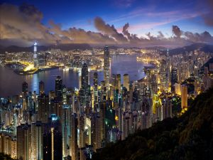 The city of Hong Kong at sunset