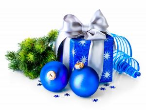 Blue ornaments and gifts for Christmas