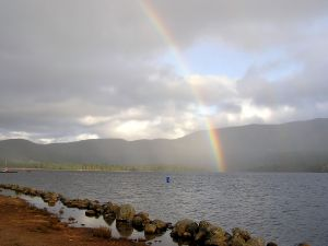 The rainbow on the lake