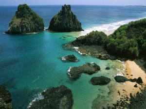 Two big rocks on the coast