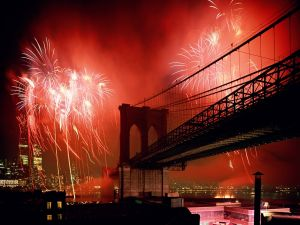 Fireworks on Brooklyn bridge