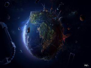 A futuristic planet
