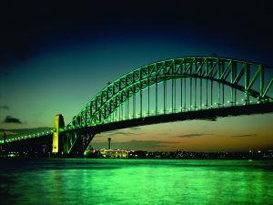 Bridge with green lights