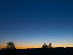 Stars in the sky at dusk