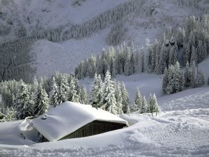 Cottage snow covered near the ski slope