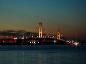 Bridge with Christmas lights