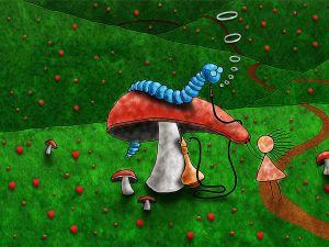 Blue worm above mushroom