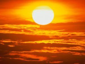 A blazing sun