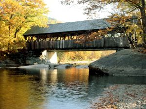 Covered bridge over the river
