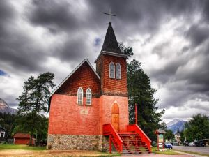Church with red stairs to the entrance