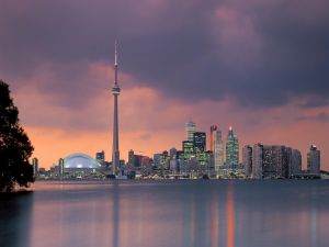 The city of Toronto at dusk