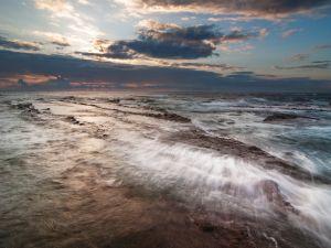 The sea and overcast sky