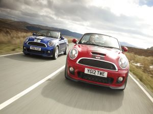 Two Mini Cooper on the road
