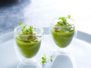 Glasses with creamed peas