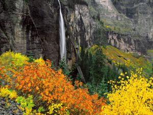Waterfall viewed in autumn