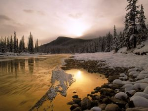 Snow on the Bow river, Canada