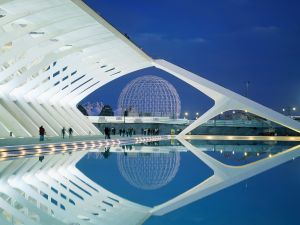 Night in the City of Arts and Sciences in Valencia, Spain