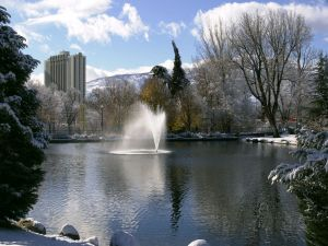 Fountain in the snowy park