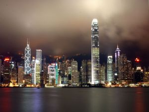 Night view of the financial district of Hong Kong