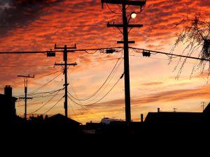 A light at dusk