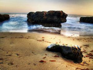 Huge boulders on the beach