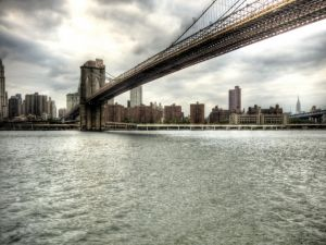 A great bridge seen from the water