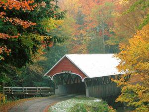Rain over the covered bridge