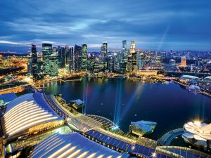 Aerial View of Singapore city