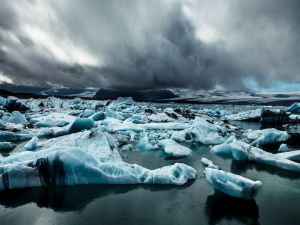 Storm on the sea covered ice