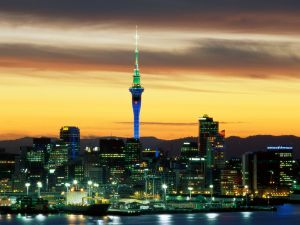 Night view of the city of Auckland, New Zealand