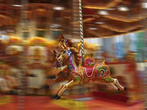 Horses in a carousel