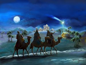 The Wise Men arrive in Bethlehem following the Star