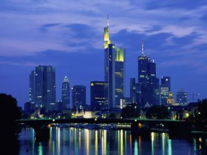 Night view of the city of Frankfurt