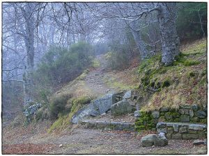 Hiking path with foggy in Moncayo