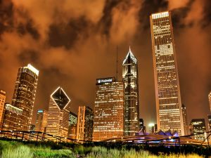 Buildings and night sky of Chicago