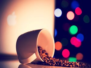 Coffee beans and colored lights