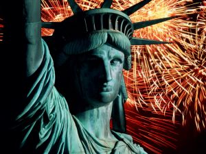 The Statue of Liberty and fireworks