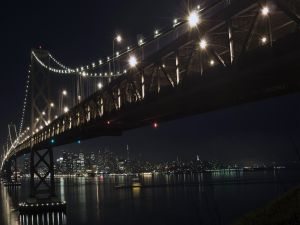 Night view of the bridge and city