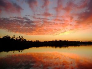 Sky colors at lake