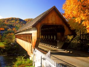 Covered bridge seen in autumn